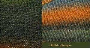 De 2 verschillende lapjes naast elkaar. Het verschil is goed te zien en te voelen. Ook is het verschil in garendikte erg goed te zien.