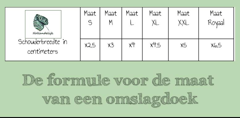 De formule voor de maat van een omslagdoek.