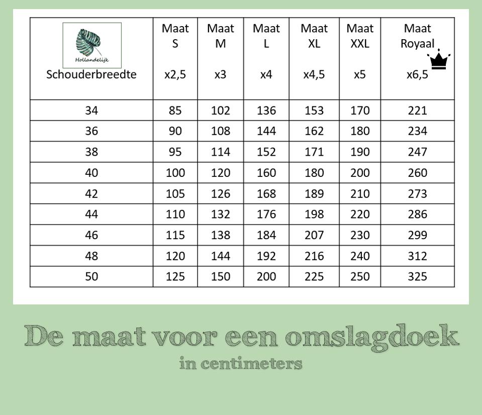 De maat voor een omslagdoek, de tabel voor de maten S tot Royaal.
